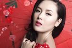 Phương Linh chụp ảnh áo ren đỏ đón xuân
