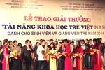 121 đề tài nhận được giải thưởng Tài năng khoa học trẻ Việt Nam