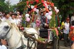 Đám cưới rước dâu bằng xe ngựa tại một làng quê