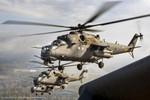 Trực thăng vũ trang Nga bắt đầu được huy động chuẩn bị cho duyệt binh