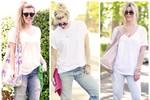 7 ngày biến hóa với quần jeans và áo phông trắng