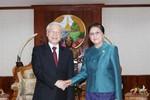 Tổng Bí thư Nguyễn Phú Trọng hội kiến lãnh đạo cấp cao Lào