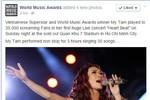"""Fanpage giải thưởng uy tín thế giới gọi Mỹ Tâm là """"siêu sao của VN"""""""