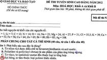 Đáp án đề thi Cao đẳng môn Hóa khối A, B năm 2012