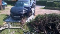 Audi R8 húc đổ bờ rào, phá nát khu vườn