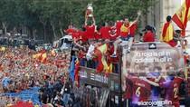 Tây Ban Nha diễu hành mừng cúp ở Madrid giữa hàng triệu người hâm mộ