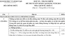 Đáp án đề thi tuyển sinh ĐH, CĐ năm 2011 (Môn Lịch sử)