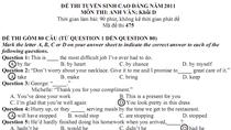 Tham khảo Đề thi- Đáp án môn Anh văn (Khối D) năm 2011