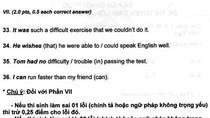 Đáp án đề thi ngoại ngữ vào lớp 10