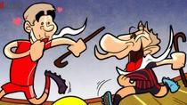 """""""Cụ"""" Messi chống batoong đá bóng với """"cụ"""" Gerrard"""