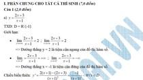Đáp án đề thi Cao đẳng môn Toán khối A, A1, B năm 2012