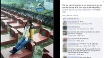 Cô gái ngồi lên mộ người đã khuất để chụp ảnh