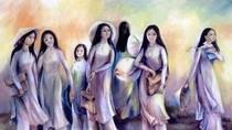 Ngắm Áo dài Việt tuyệt đẹp trong tranh