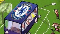 Biếm họa: Chelsea ngồi xe bus mặc cho Barca tha hồ bắn phá