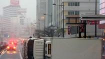 Bão lớn tấn công Nhật Bản, quật đổ container