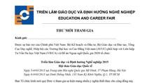 Thư mời tham gia Triển lãm Giáo dục và Định hướng Nghề nghiệp 2015