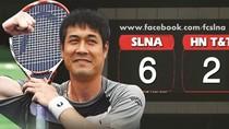 Biếm họa HN T&T - SLNA: Hữu Thắng chơi tennis với 'tướng' Hùng