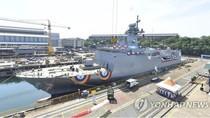 Hàn Quốc hạ thủy tàu quét mìn Nampo, tập trận đối phó Triều Tiên