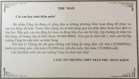 Căng tin THPT Trần Phú bỗng nổi tiếng khi đặt hàng qua tin nhắn