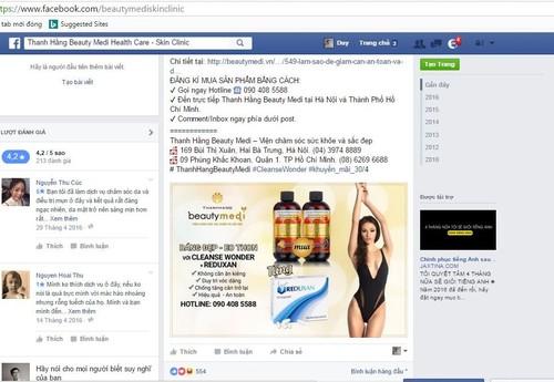 Thanh Hằng Beauty ngang nhiên quảng cáo thuốc khi chưa được Bộ Y tế cấp phép