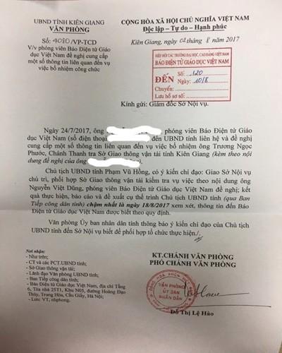Tỉnh Kiên Giang lên tiếng vụ Chánh Thanh tra Sở Giao thông chưa có bằng Đại học
