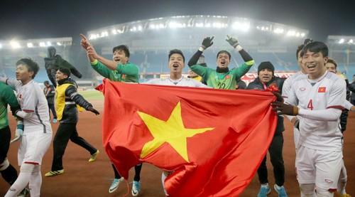 Các cầu thủ U23 vui mừng sau khi giành chiến thắng trước U23 Qatar để lần đầu tiên trong lịch sử giành vé vào chơi trận chung kết U23 châu Á. (Ảnh: Vtv.vn)